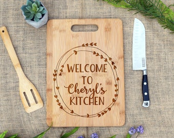 Custom Cutting Board, Welcome to Our Kitchen, Custom Name, Cheese Board, Kitchen Decor, Laser Engraved, Mom, Gift, Mother's Day, Chef, Cook
