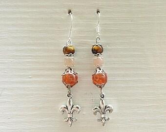 Red Agate, Moonstone, Tiger eye earrings