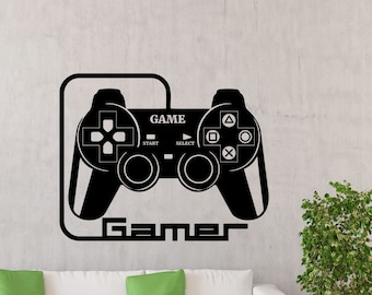 Gamer Wall Decal Gaming Gamepad Joystick Vinyl Sticker Play Room XBOX PS PC Video Game Poster Bedroom Nursery Boy Kids Art Decor Mural 33bu