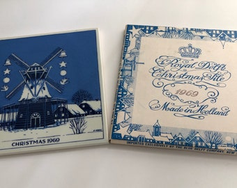 Royal Delft Christmas Tile 1969, Delft Tile, Blue and White Delft Tile, Holland Delft Tile, Vintage Delft Tile, Christmas Delft