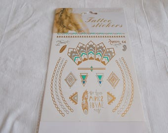 1 Board with tattoo in gold, silver, blue and green tones
