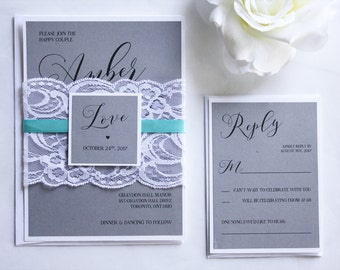 Grey & Teal Lace Wedding Invitations, Grey and Teal Wedding Invitations, Grey and Turquoise Wedding Invitations, Lace Wedding Invitations
