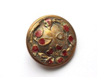 Antique Brass Dogwood Floral Enameled Button