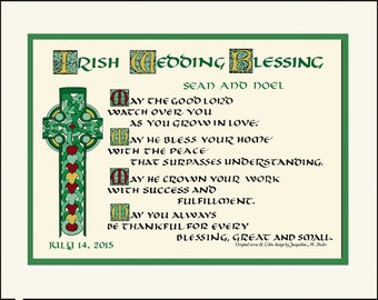 Unique Irish/Celtic Wedding Blessing, personalized free, Great Anniversary, Engagement gift!  FREE US SHIPPING! Hand-lettered print
