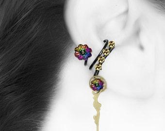 Rainbow Swarovski Crystal Ear Cuff, No PIercing Needed, Steampunk Cuff, Cartilage Earring, Electra Swarovski Crystal, Kronos III v9