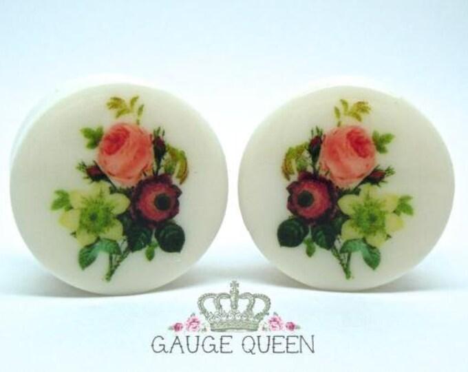 "Vintage Bouquet Plugs / Gauges. 4g /5mm, 2g /6.5mm, 0g /8mm, 00g /10mm, 1/2"" /12.5mm, 9/16"" /14mm, 5/8"" /16mm, 3/4""/19mm, 7/8""/22mm, 1""/25mm"