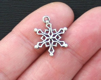 10 Snowflake Charms Antique  Silver Tone 2 Sided- SC2767