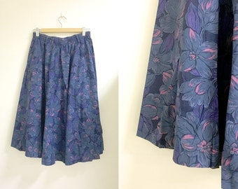 Midi floral skirt blue purple m/l