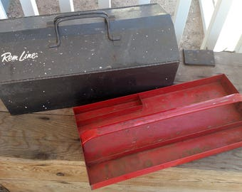 Vintage Rem Line (Remline) Toolbox Metal Toolbox with Removable Tray, Fold Out Lid