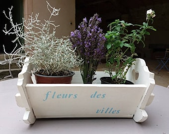 Redesigned wood blue/white - doll cradle planter