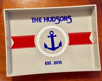 Personalized and dated Nautical Gray Serving Tray
