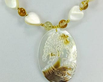 Cameo Carved into Shell Necklace with Agate Beads and Shell Hearts with tiny Gold Plated Spacer Beads