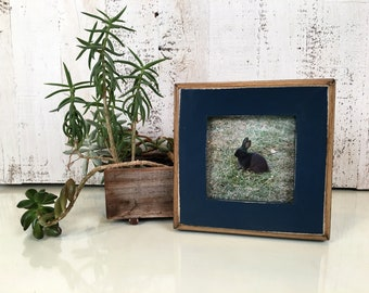 4x4 Square Photo Picture Frame in 1.5 2-Tone Style with Vintage Navy Blue Finish - IN STOCK -  Same Day Shipping - 4x4 Picture Frame