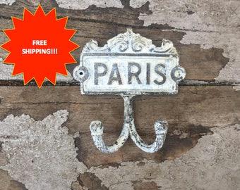 Shabby Chic Paris Wall Hook // Vintage Paris Hook // Paris Hook // Wall Hook // Shabby Chic Hook // Coat Hook // Towel Hook