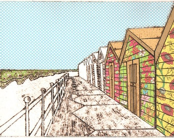 Beach Huts (Mayweed) Original Editioned Collagraph Print