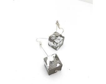 Silver foiled concrete cube drop earrings