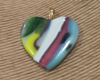 Colorful Heart Pendant, Fused Glass Jewelry, Hand Crafted Pendant, Boho Jewelry, Pink Blue Green Yellow, Ready to Ship - Isabella - 4193-3