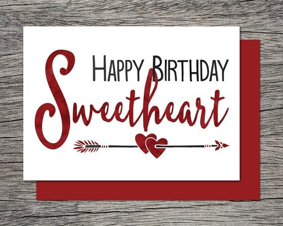 Printable birthday card happy birthday sweetheart instant printable birthday card happy birthday sweetheart instant pdf download wife birthday card girlfriend birthday card bookmarktalkfo Images