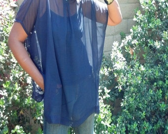Navy Blue Chiffon Top ~ Poncho Tunic ~ One Size