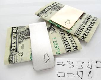 Massachusetts Michigan Minnesota Mississippi Missouri Montana Nebraska Nevada New Hampshire State Money Clip Sterling Silver, Bronze
