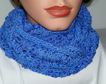 Infinity Scarf  Summer Cowl blue   knitted 100% Cotton