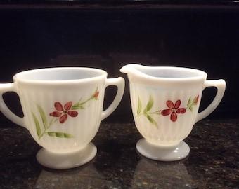 Monax Opalescent milk glass creamer and sugar set