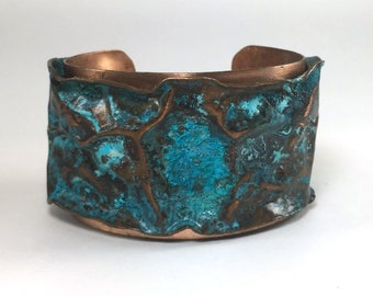 Shipwreck: A foldformed and layered copper cuff with patina