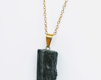 Black Tourmaline Necklace with Gold Plated Bail and Chain