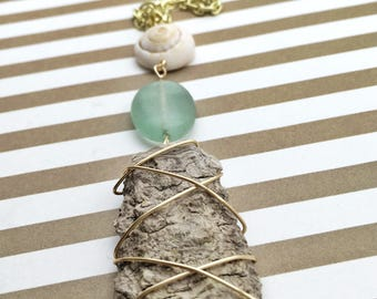 Driftwood Long Summer Necklace - Wooden Necklace - Tropical Necklace - Summer Necklace - Boho Necklace