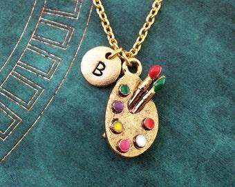 Paint Palette Necklace Gold Paint Necklace Personalized Jewelry Artist Necklace Artist Jewelry Artist Gift Painter Gift Painting Jewelry