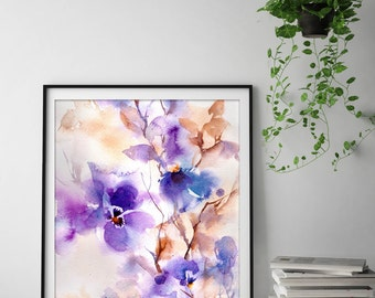 Abstract Flowers Purple Art Print, Botanical Watercolor Painting Print, Abstract floral wall print, purple florals print