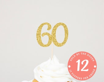 60th Birthday Cupcake Toppers 60 Cupcake Toppers 60th Anniversary Toppers Cheers To 60 Years 60 Years Ago 60 Gold Glitter 60 Black Glitter