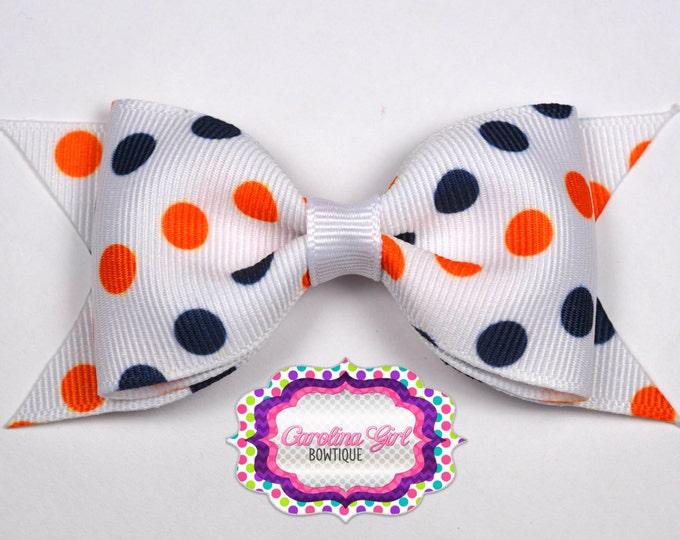 "Auburn Inspired Dots Tuxedo Bow ~ 3.5"" Hairbow ~ Small Hair Bow ~ Girls Barrette ~ Toddler Bow ~ Baby Hair Bow ~ Hair Clip ~ Girls Hair Bow"