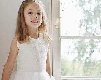 Handmade ivory lace tulle tutu flower girl dress