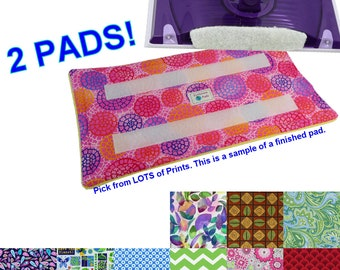2 Washable Reusable Eco Friendly Pads for the Swiffer Wet Jet. Secure with Hook side strip. Terry Cloth. LOTS of Prints. Handmade Detroit MI