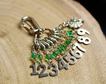Peacock Count Keepers - Progress Keepers 1 - 9 - Stainless Steel Knit or Crochet Stitch Markers - Numbers 1-9 - Gold and Teal