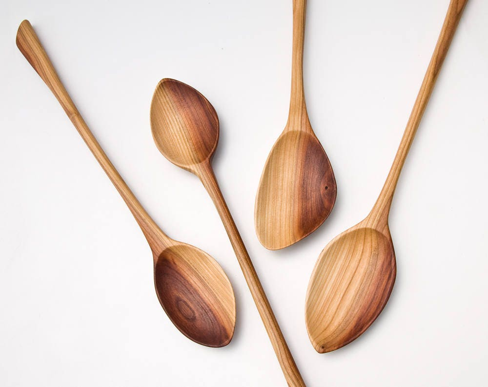 Wooden Spoons Hand Carved From Plum Wood Kitchen Utensils