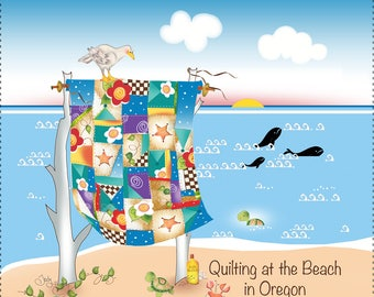 Magnet - Quilting at the Beach in Oregon