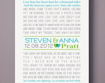 Personalized CANVAS Art (custom wedding song, lyric art, first dance song) in blue & green, custom colors