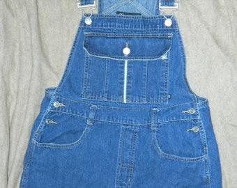 Juniors Classic No Boundaries Denim Overall Shorts Size 7-9 Medium / 30-32x4