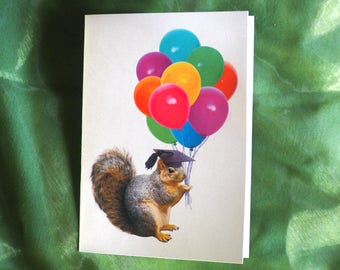 Squirrel with Balloons Printable Graduation Card, Digital Squirrel Graduation Card