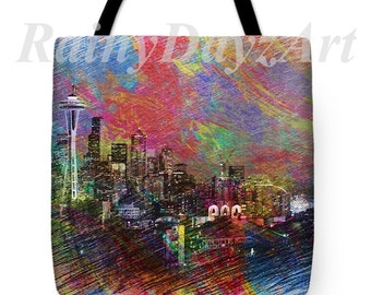 Colorful Seattle Tote Bag ~ Eco Friendly Tote ~ Market Tote ~ Seattle Tote Bag ~ Bohemian Tote ~ 18X18 Tote ~ Gift for Her ~ Ready To Ship!!