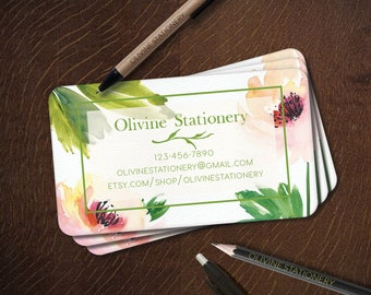 Printed Personalized Business Card, Custom Business Card, Calling Card, Contact Card, Watercolor Flower Green Leaves