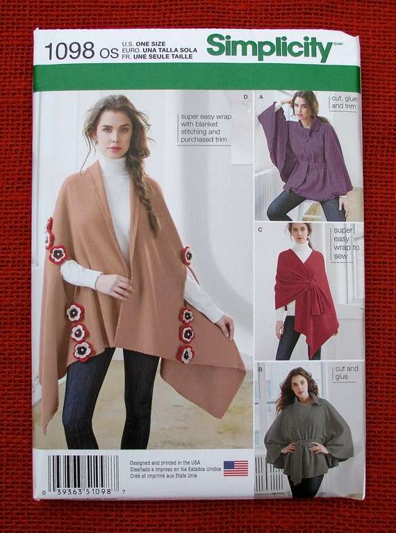 Simplicity 1098 Easy Sewing Pattern, Fleece Poncho Wrap, Outerwear ...