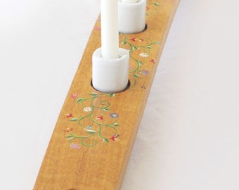 READY TO SHIP Capri recycled oak wine barrel stave mini candleholder hand painted, porcelain holders