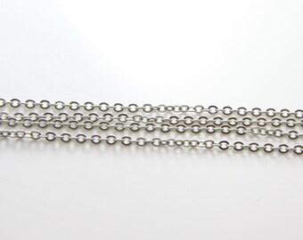 3 Feet Matte Rhodium Tone Chains-Flat Oval 2.7x2.0mm (412C04)(245SFB)