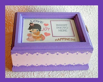 Baby Girl Music Memory Box #2, Keepsake Box, Plays Lullaby, Personalized Keepsake Box, Storage Box, Music Box, Baby Shower Gift, Photo Box