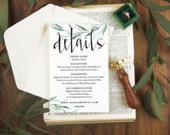 greenery wedding printable, Botanical wedding card, Editable wedding details, Wedding details card printable details card template