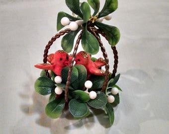 Vintage Red Bird Mistletoe Hanging Decoration