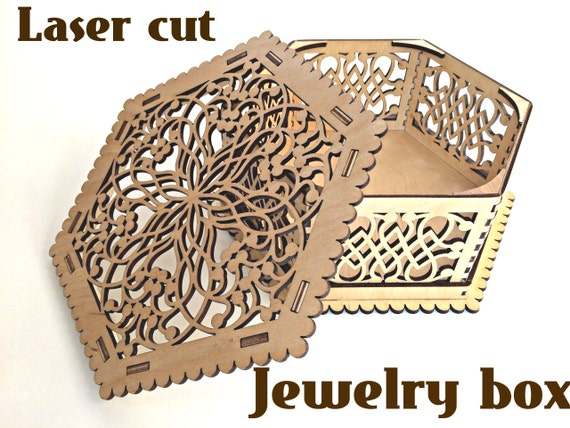 Wooden box for jewelry laser cut vector model instant for Laser cut wood box template